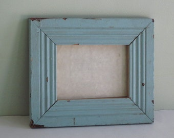 Vintage Turquoise Blue Frame From Old Trim Wood