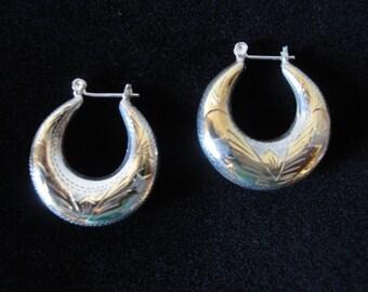 Vintage Sterling Silver Hoop Earrings from the 1980s