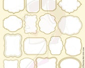 Antique Gold Frames Commercial Use Business Office Craft VECTOR Clipart DIY Label Tags Invitations Scrapbooking White Middle Frames 10726