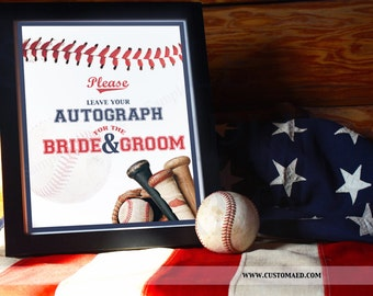 INSTANT DOWNLOAD Baseball Wedding Autograph Sign, Guest Book, Sports Table Signs, DIY Printable, Party Decor, Wedding Reception, Signature