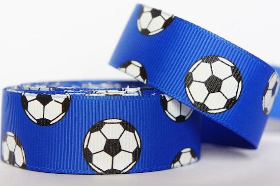 "10Yd Soccer Pattern 7/8"" Electric Blue Grosgrain Ribbon"