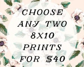 ON SALE Any two 8x10 prints for 40 - discounted set - vintage style photography - nursery room and children's art