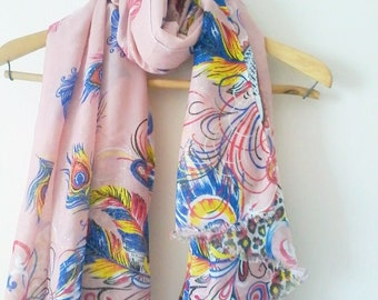 Pink Peacock Pareo, Beach Cover Up, Oversize Pareo, Cotton Scarf,  Swimwear Wrap, Handmade Shawl, Accessories