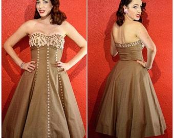 1950s Strapless Dress Appliqued Mocha Linen Circle Skirt