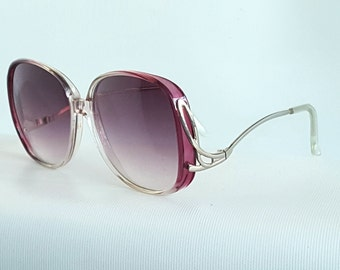 80s Big Oversize Bug Eye Sunglasses with Drop Inverted Arms Womens Gradient Purple Sunglasses