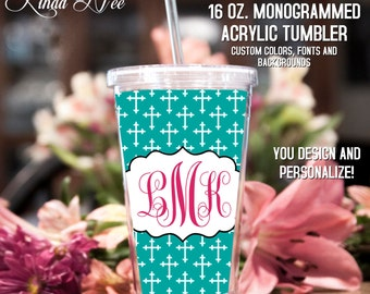 Christian Monogrammed Acrylic Tumbler, Personalized Cup, Monogrammed Acrylic Cup with Straw, Monogram Gift, Personalized Gift Bridesmaid TM3