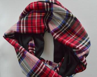 Plaid scarf, Warm Red winter Infinity Scarf, Plaid flannel scarf