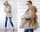Vintage beige grey fuzzy shaggy faux fur oversized hooded short hip jacket coat XS-S
