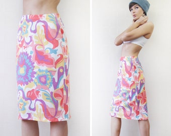 Vintage RODIER Paris colorful floral print stretchy fitted pencil midi skirt S