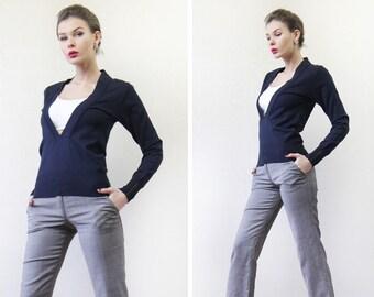 Vintage navy blue cotton preppy long sleeve deep V neck cardigan sweater top