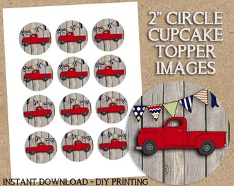 INSTANT DOWNLOAD - Red Vintage Truck Themed Party Printable - 2 inch Images - DIY Printing - Great for Cupcake Toppers, Birthday Baby Shower