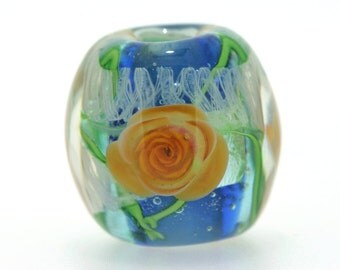 "Big handmade Lampwork Japanese Satake Glass Focal Bead ""Rose"" A79 SRA Shirley"
