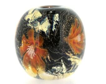 "Big handmade Lampwork Japanese Satake Glass Focal Bead ""Amber Treasure"" A85 SRA Shirley"
