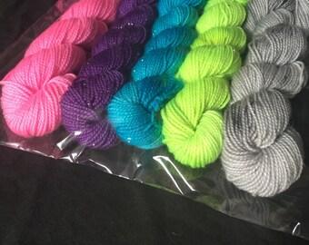 Witches Brew sock yarn miniskeins