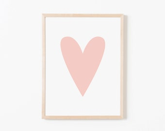 Pink Heart Nursery Art. Nursery Wall Art. Nursery Prints. Nursery Decor. Girl Wall Art. Pink Wall Art. Instant Download.
