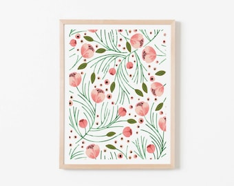 Winter Floral Nursery Art. Nursery Wall Art. Nursery Prints. Nursery Decor. Girl Wall Art. Instant Download. Floral Wall Art. Coral Art.