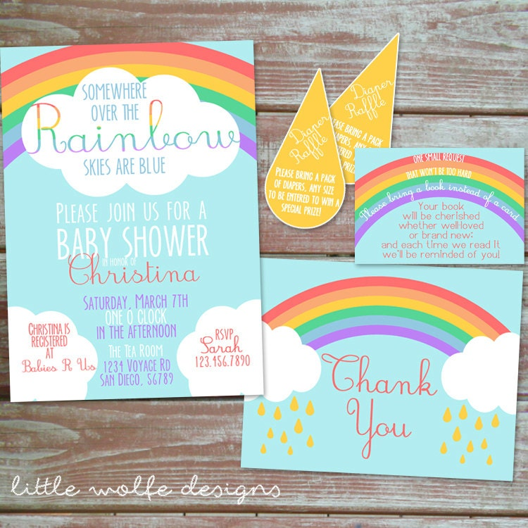 somewhere over the rainbow baby shower invitation set