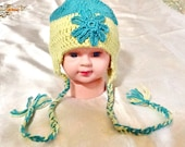 SALE------BABY GIRL hat -crochet flower hat -kids flower hat -handmade baby hat-kids boho hat