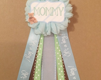Teddy Bear Blue Green Baby Shower Pin Mommy to be pin Flower Ribbon Pin Corsage Glitter Mommy Mom New Mom its a boy
