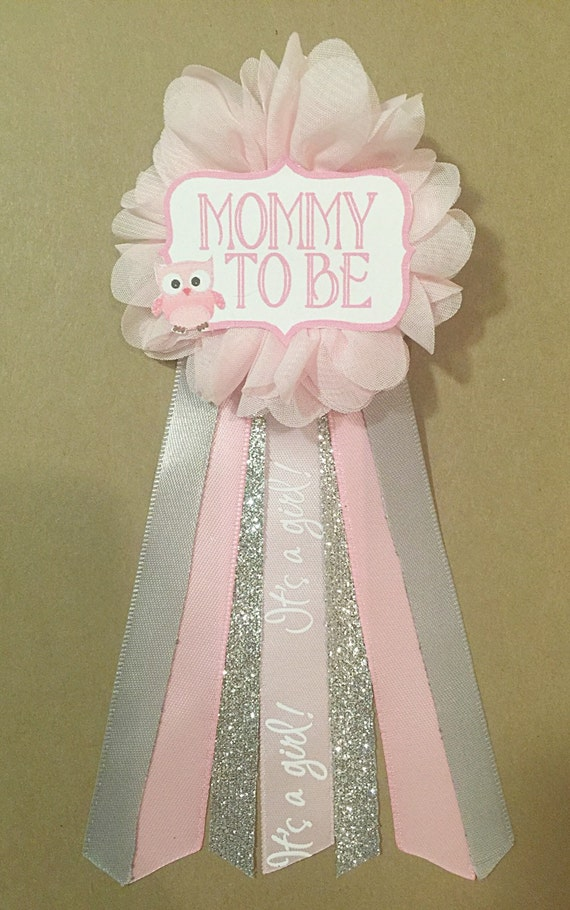 pink owl silver baby shower pin mommy to be pin flower ribbon pin