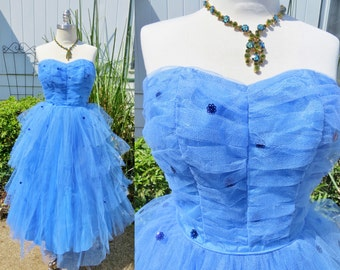 1950s blue tulle prom dress,tulle cocktail dress, sweetheart neckline party dress, sleeveless 1950s prom dress, net blue cocktail dress