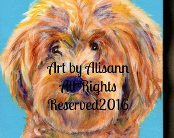 Custom Pet Portrait -Custom Dog Portrait  - Acrylic on Gallery-Wrapped Canvas - Dog Art  -  Hand-painted - Animal Art