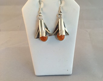 Navajo Sterling Silver with Spiny Oyster Shell Squash Blossom French Hook Earrings