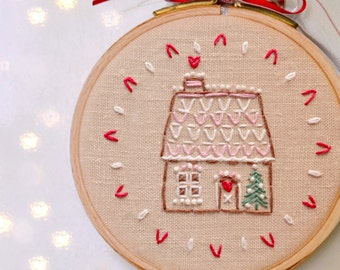 DIY Holiday ornaments, Hand embroidery patterns, DIY gift, Gingerbread house #1 by NaiveNeedle