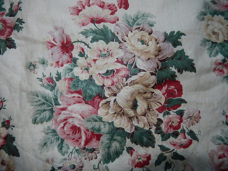 Vintage French Roses Chintz Glazed Cotton Fabric Curtain Panel