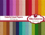 70% SALE Lined Colorful Digital Papers - Scrapbooking Paper - card design, invitations, paper crafts, web design - INSTANT DOWNLOAD