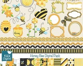 70% Sale Honey Bee Digital Clipart and Paper Combo- Scrapbooking , card design, invitations, stickers, paper crafts, web design - INSTANT DO