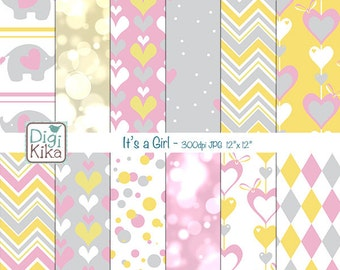 Its a Girl Digital Papers, Baby girl Scrapbook Paper - Nursery Papers - Hearts Background - Baby Patterns - INSTANT DOWNLOAD