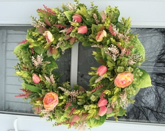 Pink & Yellow Ranunculus and Tulips with Lush Greens Wreath