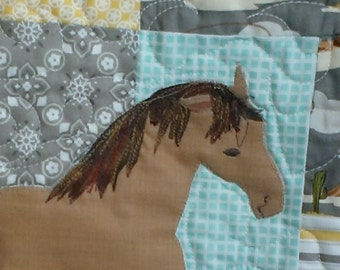 Handmade horse quilt, western baby or toddler quilt with horse applique