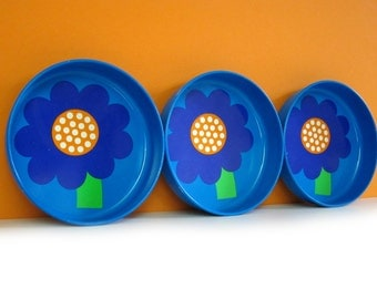Laurids Lonborg coasters, set of 3, blue with flowers, Lena and Al Eklund, made in Denmark