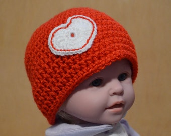 Valentine's Day, Red Baby Hat, Crocheted Hat, 3 to 6 months