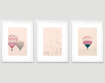 Girl nursery wall art girl nursery decor girl, hot air balloon nursery girl room art purple nursery decor wall art canvas art nursery prints