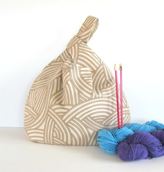 Knot Bag Knitting Pattern : Knot Bag Knitting Project Bag Large Knitting Tote by OvationStudio