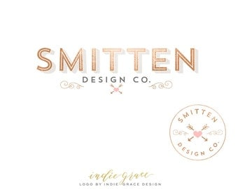 Rose Gold Foil Modern Typography Logo design and Logo Stamp - Heart Logo - Custom PreDesigned - for photography logo or boutique logo