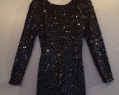 Vintage Black Sequin Backless Bodycon New Years Dress Size 2/4