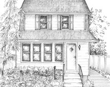 Custom House Sketch - hand drawn home portrait in ink - commissioned home portrait - your home hand drawn in ink