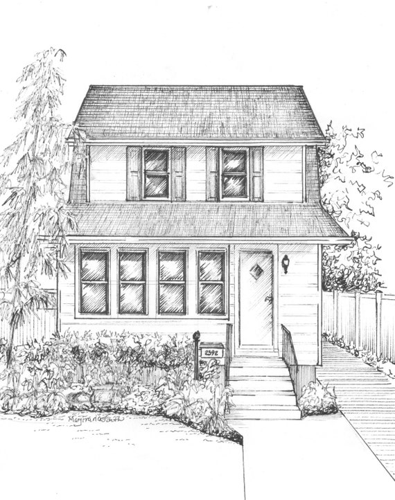 Custom House Sketch Hand Drawn Home Portrait By