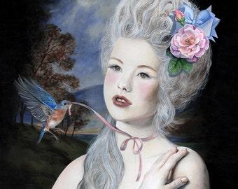 L'oiseau bleu, acrylic on gesso board, 13.4 x 13.4 inches, 34 x 34 cm Original Painting framed