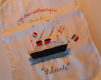 vintage baby bib French embroidery with ship