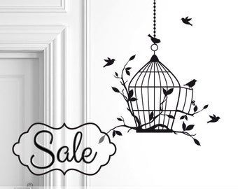 Birdcage Decal | Birdcage Wall Decal | Bird Cage Vinyl Wall Decal | Flying Birds Decal | Wall Decor | Bedroom Decor