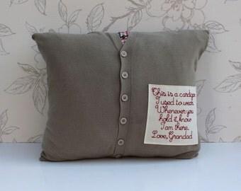 Men's Cardigan Remembrance Cushion, Custom-made Keepsake Cushion, Man's Cardigan Pillow, Embroidered Patch Cushion, Keepsake Pillow