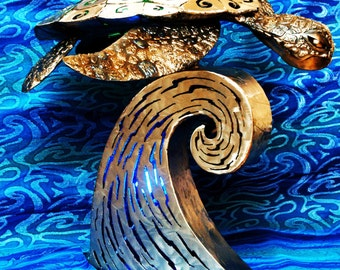 Kaimana the Sea Turtle, Illuminated Metal Sculpture, OOAK