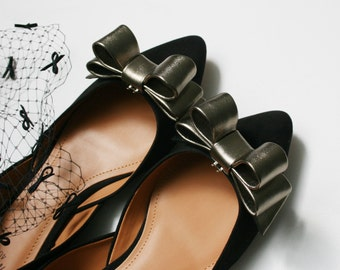 Metallic Leather Bow Shoe Clips