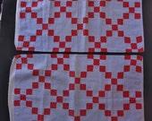Antique Pennsylvania patchwork pillowcase pair, c. 1880-1900, nine-patch or single Irish chain design, double blue fabric