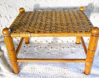 Antique 1910s Cane Rattan Incised Wood Footstool Woven Split Willow Edwardian French Country Cottage Victorian Carved Adirondack Wood Stool